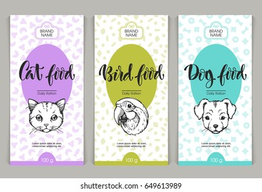 Vector set of templates packaging pets food, label, banner, poster, identity, branding. Color background with sketch hand drawn illustration - cat, dig, bird. Stylish design