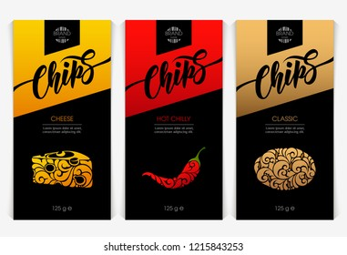 Vector set templates packaging snack products, label, banner, poster, branding. Abstract color background with ornamental design elements - cheese, chilli, potatoe. Stylish design for chips