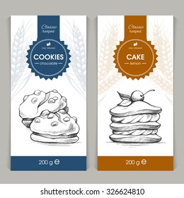 Vector set of templates packaging sweets, label, banner, poster, identity, branding. Background with sketch hand drawn illustration - cookies and cake. Stylish design for baked goods