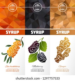 Vector set of templates packaging syrup, label, banner, poster, identity, branding. Color abstract background with ornamental illustration - sea buckthorn, ginger, mulberry. Stylish design