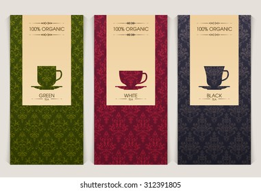 Vector set of templates packaging tea, label, banner, poster, identity, branding. Ornate color pattern background with cup icon. Stylish design for black, white and green tea