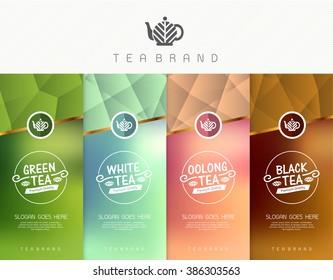 Vector set of templates packaging tea, logo, label, banner, poster, identity, branding. Stylish design for tea package.