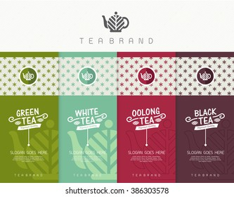 Vector set of templates packaging tea, logo, label, banner, poster, identity, branding. Stylish design for tea package.
