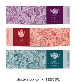 Vector set of templates packaging tea, label, banner, poster, identity, branding. Floral abstract pattern background with design elements -  teapot icon. Stylish design for black, green and fruit tea