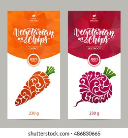 Vector set of templates packaging vegetarian food, label, banner, poster, identity, branding. Abstract color background with ornamental design elements - carrot and beetroot. Vegetarian chips