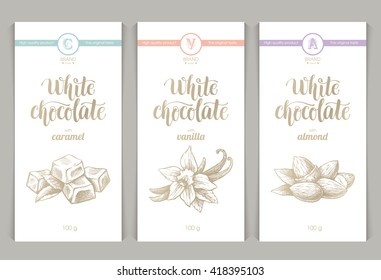 Vector set of templates packaging white chocolate, label, banner, poster, identity, branding. Background with sketch hand drawn illustration caramel, vanilla, almonds and calligraphic. Stylish design