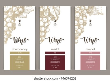 Vector set of templates packaging wine, label, banner, poster, identity, branding. Color background with sketch hand drawn illustration - grapes. Stylish design