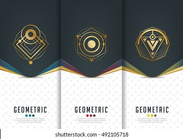 Vector set of templates packaging,black labels and frames for luxury products in geometric trendy linear style,identity,branding,golden pattern in trendy linear style,vector illustration