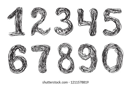 Vector set of ten numbers zero, one, two, three, four, five, six, seven, eight, nine. Scribbled sketch style design. Alphabet number icons