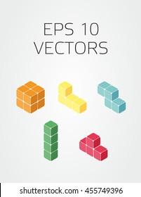 vector set of tetris 3d blocks