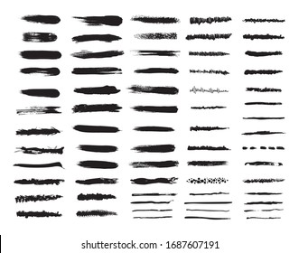 Vector set of textured and grunge brushes for your design. Collection abstract black templates on white background for paper design. Handwritten textures for graphic programs.