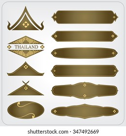 vector set of thai border and frame design