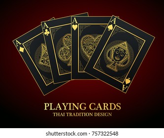 Vector set of thai tradition playing card and icon with decorative ornament