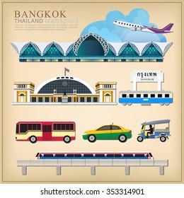 vector set of Thailand transportation, Bangkok city Travel, Bangkok Railway Station, Suvarnabhumi international airport, sky train