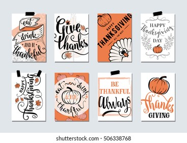 Vector set of thanksgiving holidays hand drawn invitation and greeting card with handwritten lettering greetings, words and phrases. Happy thanksgiving day wishes template with turkey, pumpkin, leaves