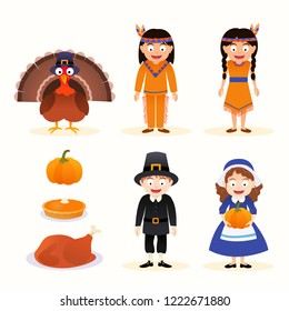 Vector set of thanksgiving icons, characters isolated on white background