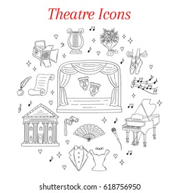 Vector set of theater icons with theatrical stage, comedy and tragedy masks, curtains, , lyre, grand piano, spotlight, tuxedo, evening dress,  isolated on white background, hand drawn, doodle.