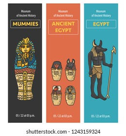 Vector set of thee bookmarks design with Ancient Egypt symbols: Tutankhamun Sarcophagus, Canopic jars (using in embalming proccess) God Anubis Statue; Hand drawn cartoonish style