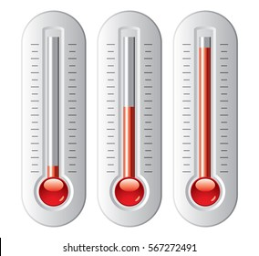 vector set of thermometers with degrees. no numbers, red bulb fahrenheit and celsius  temperature measurement device. thermometer icons isolated on white background.
