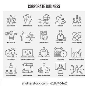 Vector set of thin line icons of corporate management and business. Mono line pictograms and infographics design elements.
