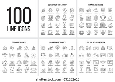 Vector set of thin line icons of corporate management, business, market, economics, banking, finance, seo, web optimization and startup. Mono line pictograms and infographics design elements.