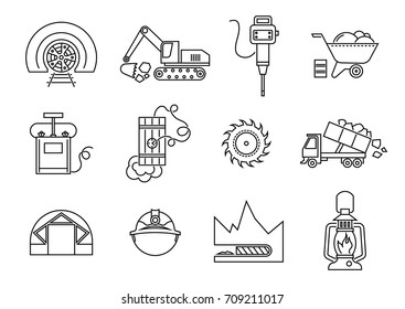 Vector set of thin line icons of drilling tunnels in mining industry.