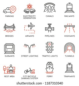 Vector set of thin linear 16 icons related to facility management, smart city and urban development. Mono line pictograms and infographics design elements - part 1