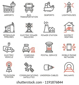 Vector set of thin linear 16 icons related to facility management, smart city and urban development. Mono line pictograms and infographics design elements - part 2