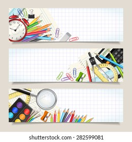 Vector set of three back to school horizontal banners. Templates with supplies tools on sheet in a cage. Place for your text. Layered realistic vector illustration.