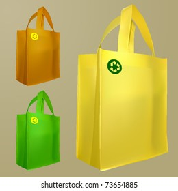 vector set of three bags with recycle sign