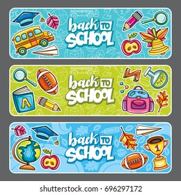 Vector set of three children horizontal banners. Templates with supplies students tools. Cartoon icons of globe, bell, gold cup, school bus, backpack, football, leaves.  Back to school lettering text