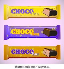 vector set of three chocolate bars