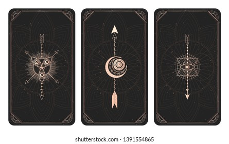 Vector set of three dark backgrounds with geometric symbols, grunge textures and frames. Abstract geometric symbols and sacred mystic signs drawn in lines. Illustration in black and gold colors.