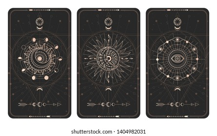 Vector set of three dark backgrounds with geometric symbols, grunge textures and frames. Sacred mystic signs drawn in lines. Illustration in black and gold colors. For you design and magic craft.
