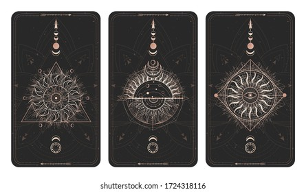 Vector set of three dark illustrations with sacred geometry symbols and frames. Images in black and gold colors.