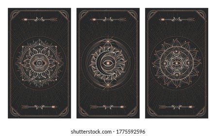 Vector set of three dark illustrations with sacred geometry symbols, grunge textures and frames. Images in black and gold colors.