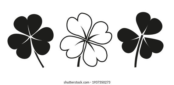 Vector Set of three and four leaves clovers - black icons on white background. Illustration isolated, easy to edit and ready to use icons. A collection in various drawings, paintings, pics.