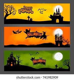 Vector set of three Halloween Banner