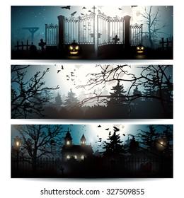 Vector set of three Halloween horizontal banners