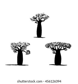 vector set of three hand drawing black baobabs. Vector silhouette of baobab. Symbol of Madagascar