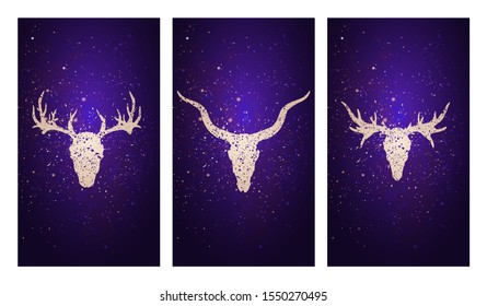 Vector set of three illustrations with silhouettes skulls deer, antelope and moose against the background of the starry sky. In purple color. For you design, print, tattoo or magic craft.