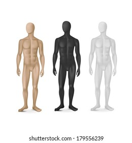 Vector Set of Three Male Mannequins Isolated on White Background