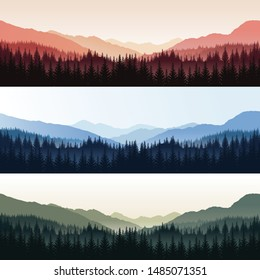 Vector set of three panoramic landscapes with forest and hills in different colors