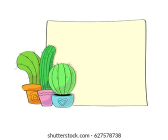 vector set of three pretty colorful cactuses in different pots with square background