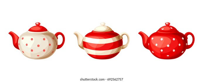 Vector set of three red and white porcelain teapots isolated on a white background.