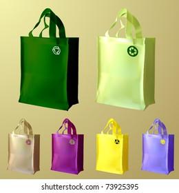 vector set of three reusable shopping bags