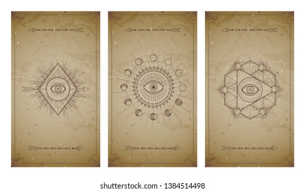 Vector set of three vintage backgrounds with geometric symbols and frames. Sacred mystic signs drawn in lines. In sepia colors. For you design and magic craft.
