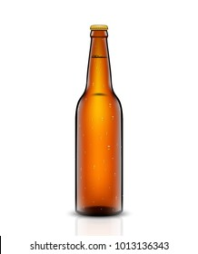 Vector set, Three-dimensional bottles. 3d illustration of empty beer bottles. Packing for your design. Realistic set of isolated objects.