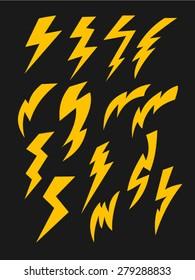 Vector set of thunder lighting icons. Lightning bolt icons.