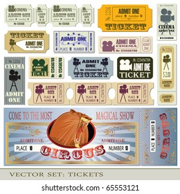 Vector set: tickets admit one in different styles.
